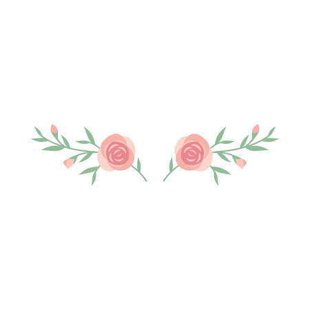 Branch of roses and leaves colorful decoration element, vector, pink and green.
