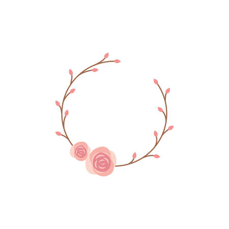 Rose circle colorful vector frame. Spring blossom and roses vintage decoration frame template with branches.