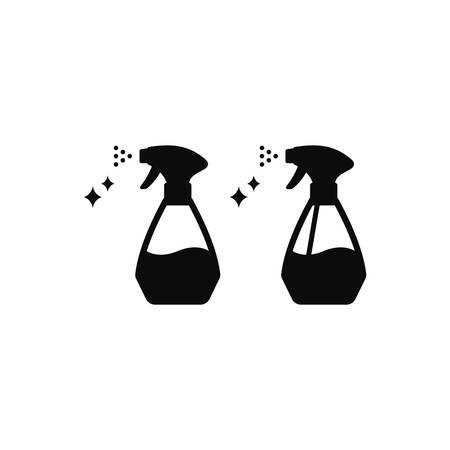 Cleaner or detergent spray black isolated vector icon. Domestic disinfectant cleaning bottle symbol.