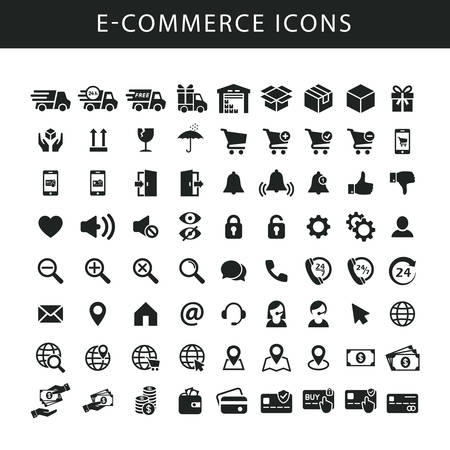 E-commerce black isolated vector icon set. Icons for on-line shop, website, fulfilment service. Delivery and shipping symbols.