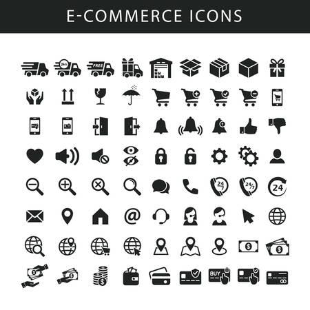 E-Commerce schwarz isolierte Vektor-Icon-Set. Symbole für Online-Shop, Website, Fulfillment-Service. Liefer- und Versandsymbole.