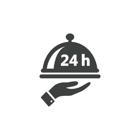 Twenty four hour service or non stop food delivery. Dish cap, meal cover or tray server and a hand with 24 h black isolated vector icon.