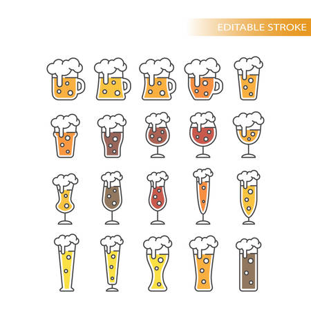 Beer glasses types colorful cartoon with editable stroke. Line mug, pint, glass vector icon set. Illustration