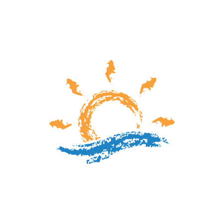 Sun and sea wave vector colorful illustration or icon. Chalk or dry brush effect. Illustration