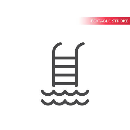 Pool symbol, water waves thin line vector icon. Outline, editable stroke