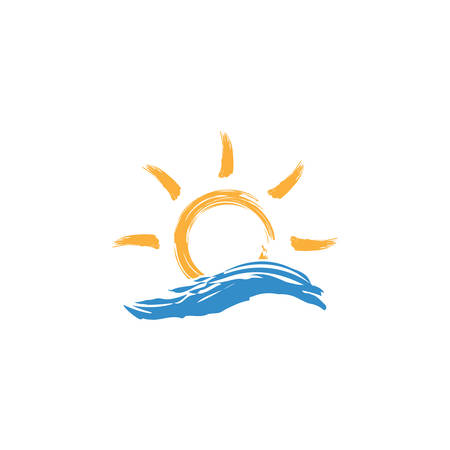 Sun and sea wave vector colorful illustration or icon. Tourism, summer holiday symbol.  Dry brush effect.