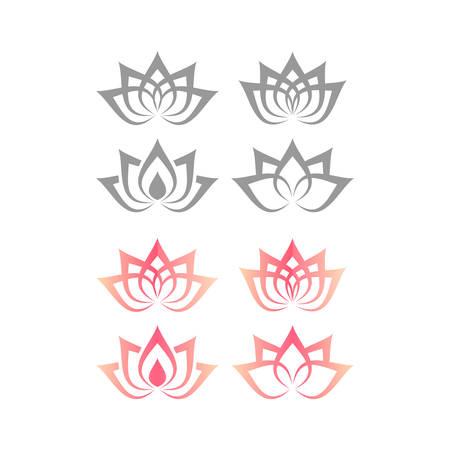 Lotus or water lily blossom floral design for logo. Yoga or spa vector symbol. Illustration