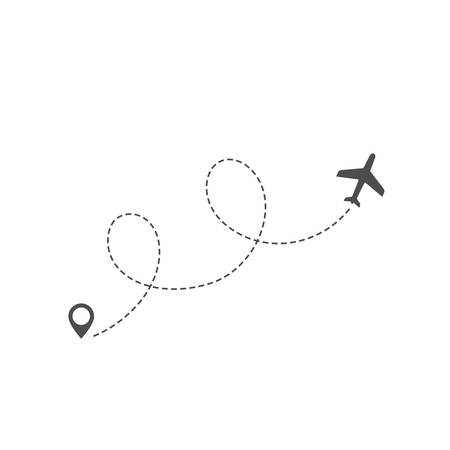 Airplane route or flight path trace in dashed line with location pin vector illustration.