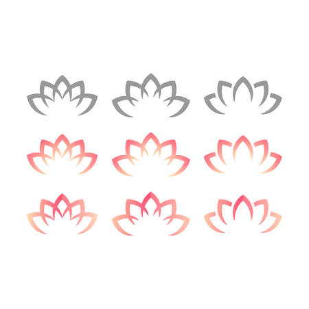 Lotus or water lily blossom pink floral design for logo. Yoga or spa vector symbol. Illustration