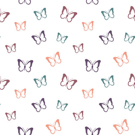 Butterflies in pastel colors seamless pattern. Butterfly design for fabric, paper.