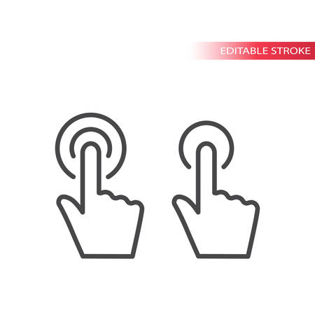 Hand pointer with circles, click or touch thin line icon. Outline, editable stroke.