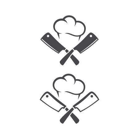 Kitchen knives or cleaver crossed, with chef cap black vector pictogram icon for restaurant.