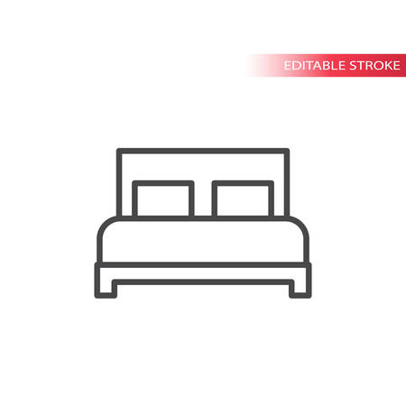 Bed or hotel sign thin line vector icon. Outline, editable stroke.