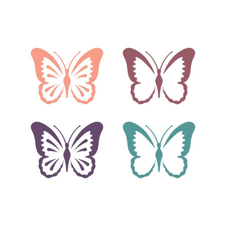 Butterfly colorful vector set. Butterflies cute illustration.