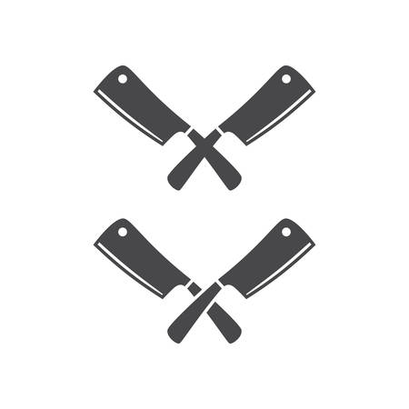 Kitchen knives or cleaver crossed black vector pictogram icon. Logo for restaurant.
