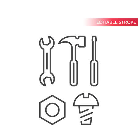 Spanner or wrench, bolt, nut and screwdriver hardware tools thin line icon set. Outline, editable stroke. Illustration
