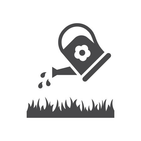 Watering can pouring grass black vector icon. Irrigation symbol pictogram.