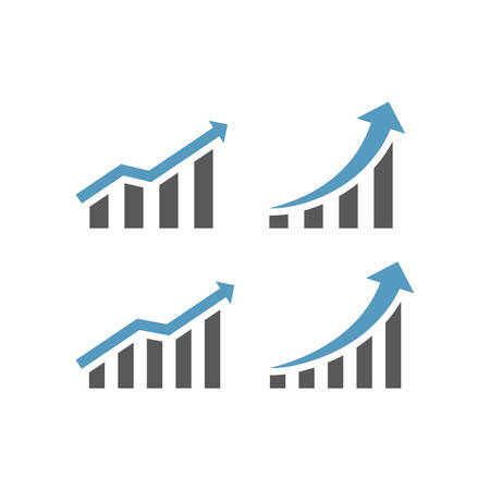 Growth bar infographic or chart with arrow icon. Data analysis graph, growing up business vector. Illustration