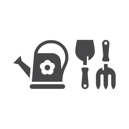 Gardening tools simple black vector icon set. Trowel or shovel with pitchfork and watering can garden icons Illustration