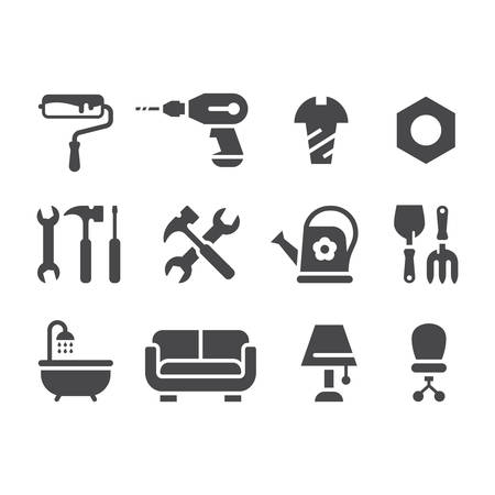 Hardware store, home improvement shop or DIY icon set. Hand tools, bathtub, roller, hammer black vector icons.