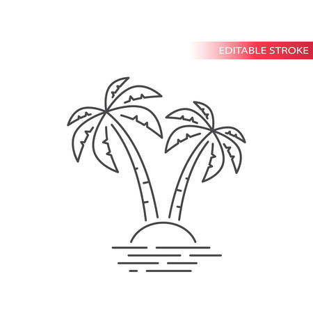 Palm tree and tropical island in the sea simple thin line icon. Outline, editable stroke vector.