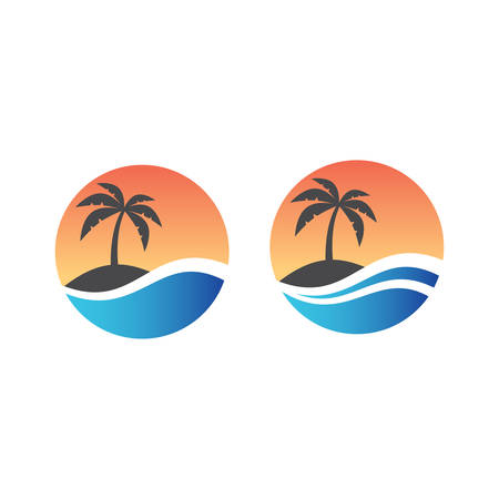 Palm, tropical island and sea or ocean wave in circle logo design. Tourism, exotic summer vacation or holiday colorful vector symbol.