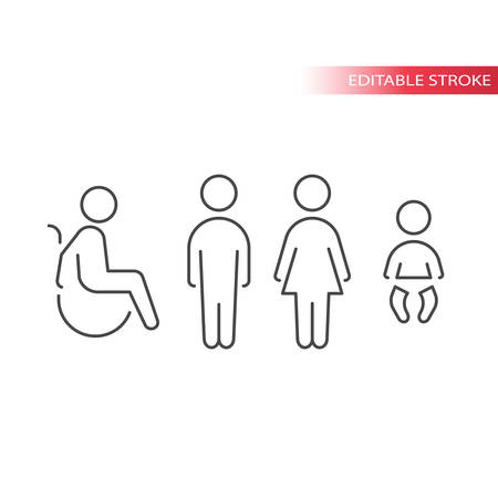 Toilet or wc thin line vector symbols set. Men, women, disabled, diaper changing icons. Outline, editable stroke. Illustration