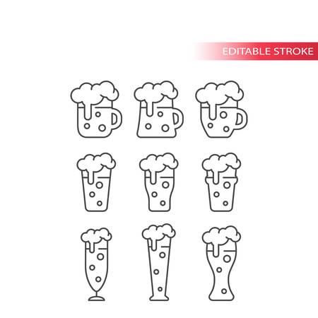 Beer glass and mug thin line vector icon set. Beer mugs and glasses outline, editable stroke icons.