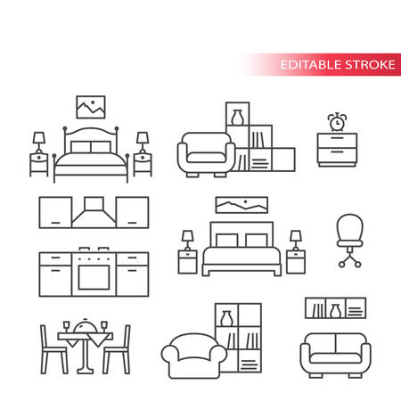 Furniture interior home design thin line icon set. Living room, bedroom, kitchen icons, outline, editable stroke.