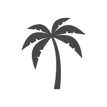 Palm tree silhouette simple black isolated vector icon. Illustration