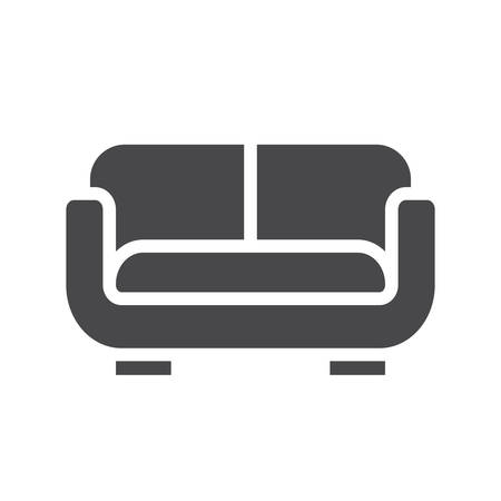 Sofa or couch black isolated vector icon. Illustration