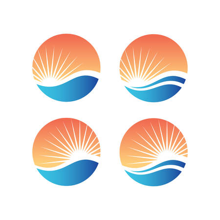 Sun and sea or ocean wave in colorful circle logo design. Tourism, travel symbol. Illustration