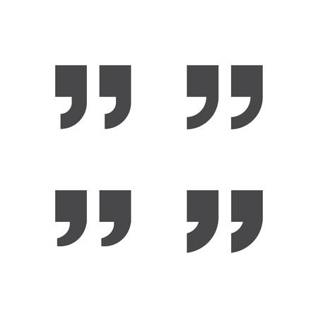 Quotation marks, square quotes black isolated vector icon set.