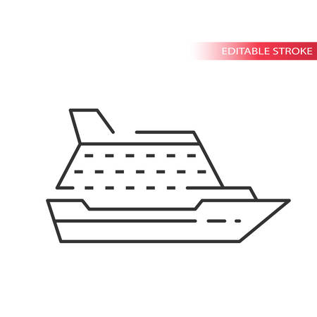 Cruise ship, liner thin line vector icon. Editable stroke.