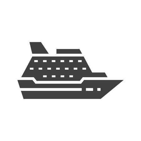 Cruise ship black isolated vector icon. Ilustrace