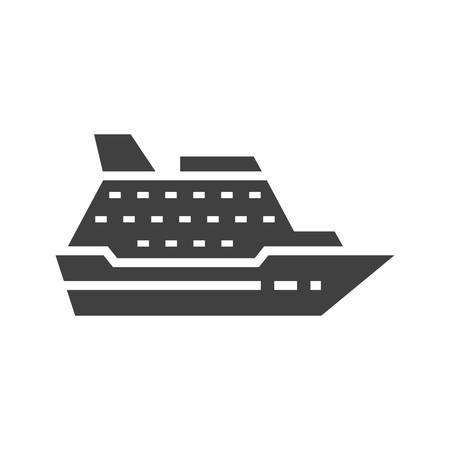 Cruise ship black isolated vector icon. Illustration