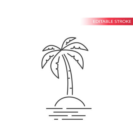 Palm tree and tropical island in the ocean thin line icon. Outline, editable stroke vector.