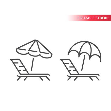 Deck chair, lounge or sun bed with beach umbrella thin line vector icon. Outline, editable stroke vector. Illustration