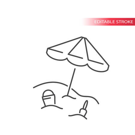 Beach umbrella with shovel and bucket in the sand thin line icon. Summer vector symbol, outline, editable stroke. Illustration