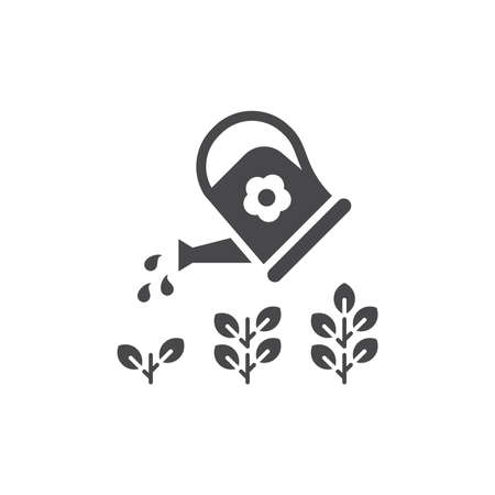 Watering can with plant, growth stages concept. Business development or gardening black vector icon.