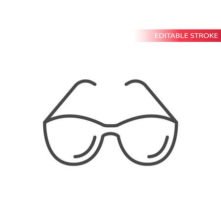 Sunglasses, glasses frame simple thin line icon. Outline, editable stroke eyeglasses vector.