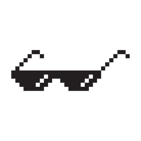 Sunglasses pixel style vector icon. Pixelated glasses pictogram symbol.