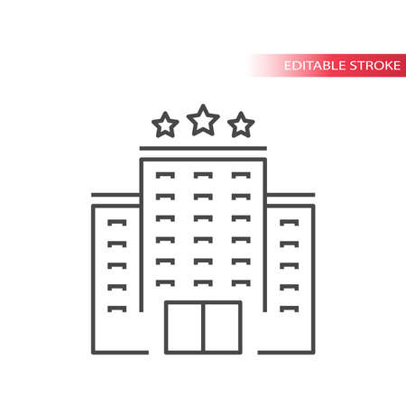 Hotel building thin line vector icon. Outline hotel, editable stroke. Ilustrace