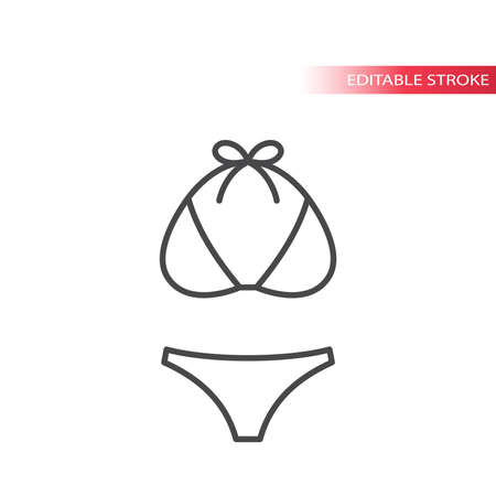 Swimsuit top and bikini thin line vector icon. Women bathing suit outline set, editable stroke.