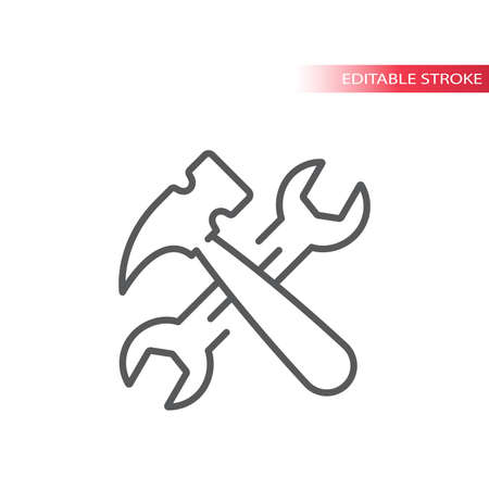Wrench or spanner and hammer crossed line icon. Under construction outline symbol, editable stroke.