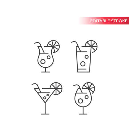 Cocktail glasses thin line vector icon set. Cocktail drink glass with straw and lemon slice outline icons, editable stroke.