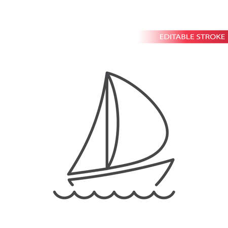 Boat or yacht thin line vector icon. Sailboat with water waves in the sea outline symbol. Editable stroke.