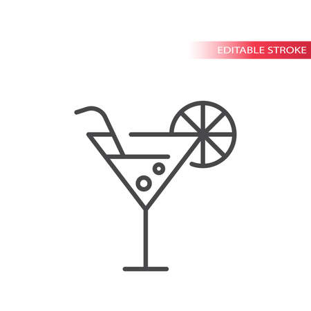 Cocktail or martini glass thin line vector icon. Martini drink with straw and lemon slice outline symbol, editable stroke.