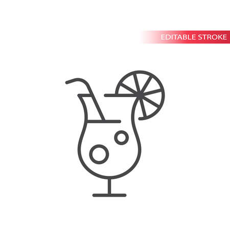Cocktail glass thin line vector icon. Alcohol drink with straw and lemon slice outline symbol, editable stroke.