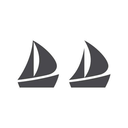 Boat or yacht simple black vector icon. Boat pictogram glyph symbol. Ilustrace
